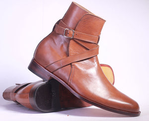 Handmade Brown Jodhpurs Leather Boots For Men's - leathersguru