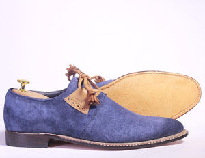 Bespoke Blue & Brown Suede Lace up Shoe for Men - leathersguru