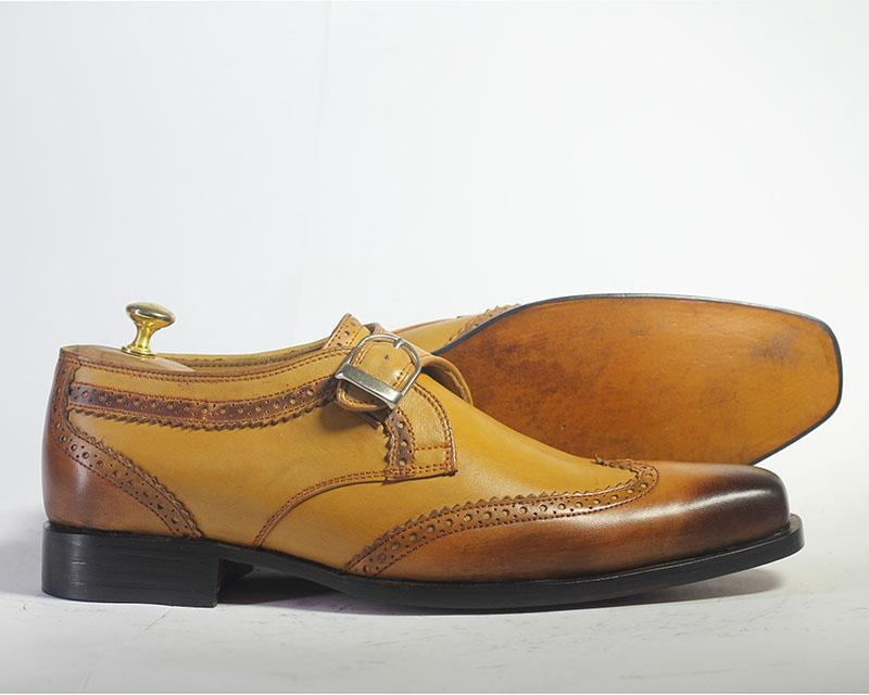 Bespoke Tan Brown Leather Buckle up Shoes for Men's - leathersguru