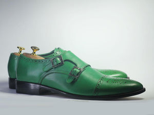 Bespoke Green Leather Double Monk Strap Shoe for Men - leathersguru