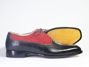 Bespoke Black Red Leather Suede Lace Up Shoe for Men - leathersguru