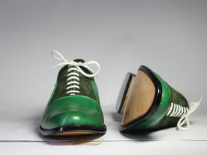 Bespoke Green Leather Suede Lace Up Shoe for Men's - leathersguru