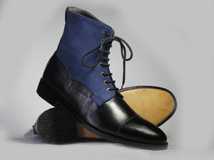 Bespoke Black Blue Leather Suede Ankle High Lace Up Boots - leathersguru