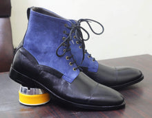Load image into Gallery viewer, Ankle Black Blue Cap Toe Lace Up Leather Suede Boots - leathersguru