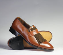 Load image into Gallery viewer, Bespoke Gray Brown Fringe Loafer Leather Shoe for Men - leathersguru