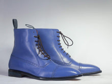 Load image into Gallery viewer, Men's Ankle High Blue Cap Toe Leather Boot - leathersguru