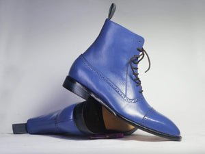 Men's Ankle High Blue Cap Toe Leather Boot - leathersguru