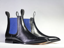 Load image into Gallery viewer, Bespoke Black Blue Chelsea Leather Stylish Boots - leathersguru