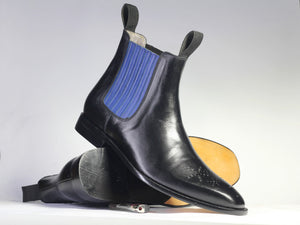 Bespoke Black Blue Chelsea Leather Stylish Boots - leathersguru