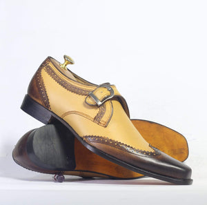 Men's Tan Brown Wing Tip Monk Straps Leather Shoes - leathersguru
