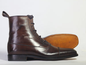 Bespoke Brown Leather Ankle High Lace Up Boots - leathersguru