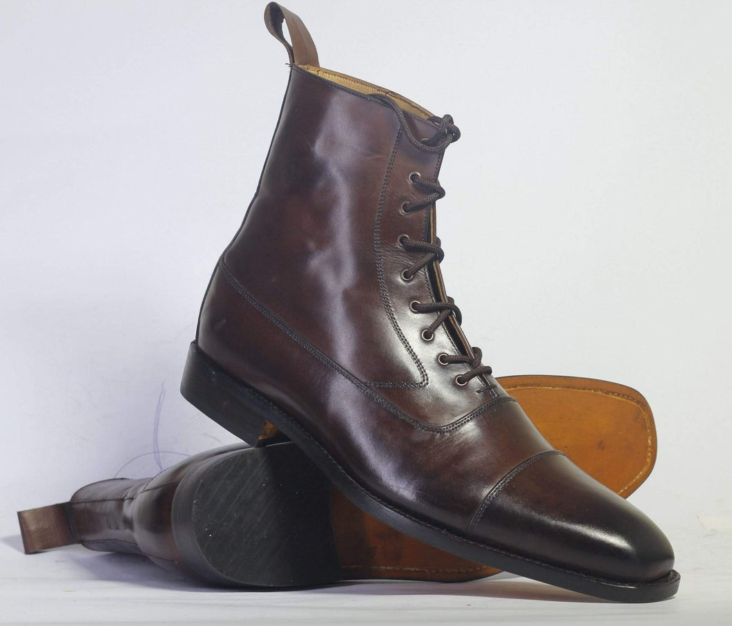 Men's Ankle Dark Brown Cap Toe Leather Boot - leathersguru