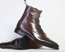 Load image into Gallery viewer, Bespoke Brown Leather Ankle High Lace Up Boots - leathersguru