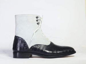 Men's Ankle White & Black Alligator Leather Suede Boot - leathersguru