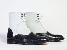 Load image into Gallery viewer, Men's Ankle White & Black Alligator Leather Suede Boot - leathersguru