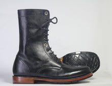 Load image into Gallery viewer, Bespoke Black Ankle High Leather Lace Up Stylish Boots - leathersguru