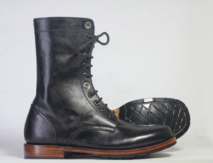 Bespoke Black Ankle High Leather Lace Up Stylish Boots - leathersguru