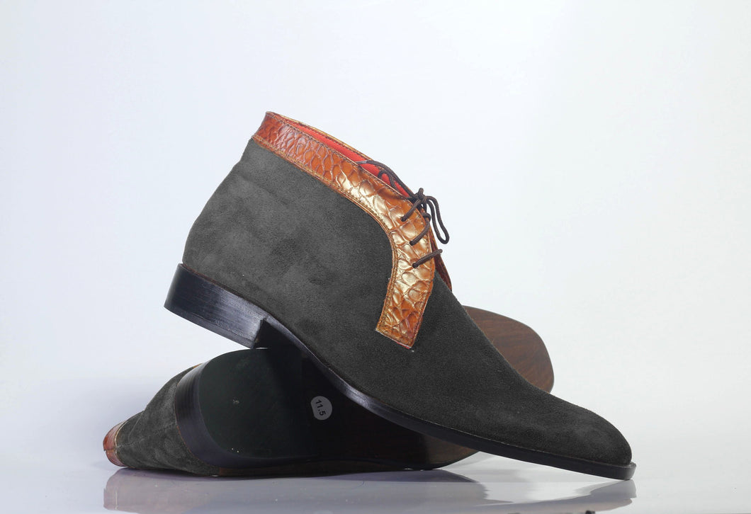 Bespoke Black Brown Chukka Leather Suede Lace Up Boot - leathersguru