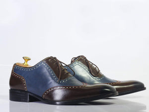 Men's Two Tone Cap Toe Lace Up Leather Shoes - leathersguru