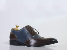 Load image into Gallery viewer, Men's Two Tone Cap Toe Lace Up Leather Shoes - leathersguru