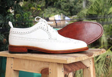 Load image into Gallery viewer, White Leather Wing Tip Brogue Shoes - leathersguru