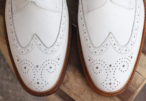 White Leather Wing Tip Brogue Shoes - leathersguru