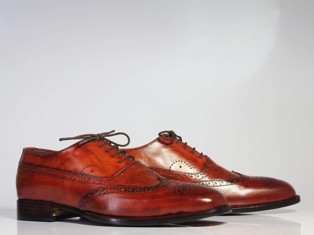 Men's Brown Wing Tip Brogue Lace Up Leather Shoe - leathersguru