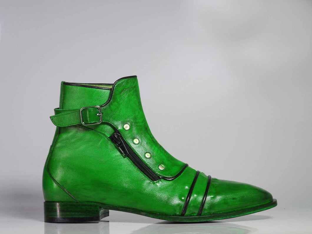 Men's Green Ankle Cap Toe Buckle Leather Boot - leathersguru
