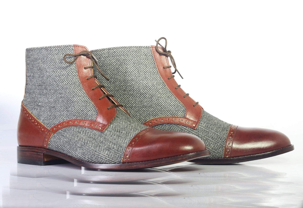 Men's Two Tone Ankle High Lace Up Leather Tweed Boot - leathersguru