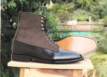 Load image into Gallery viewer, Handmade Black Two Tone Ankle Boots - leathersguru