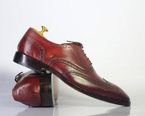 Bespoke Burgundy Leather Wing Tip Lace Up Shoe for Men - leathersguru