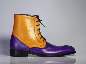 Men's Purple & Tan Ankle Split Toe Leather Lace Up Boot - leathersguru