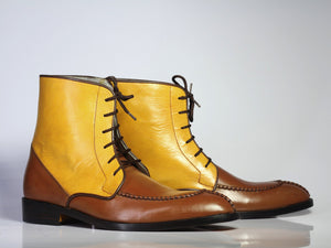 Bespoke Yellow & Brown Leather Split Toe Lace Up Boot - leathersguru