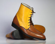 Load image into Gallery viewer, Bespoke Yellow & Brown Leather Split Toe Lace Up Boot - leathersguru