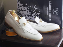Load image into Gallery viewer, Handmade White Fringe Loafers Leather Shoes For Men's - leathersguru