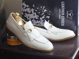 Handmade White Fringe Loafers Leather Shoes For Men's - leathersguru