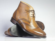 Load image into Gallery viewer, Bespoke Tan Chukka Leather Wing Tip Lace Up Boots - leathersguru