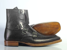 Load image into Gallery viewer, Bespoke Black Leather High Ankle Monk Strap Boots - leathersguru