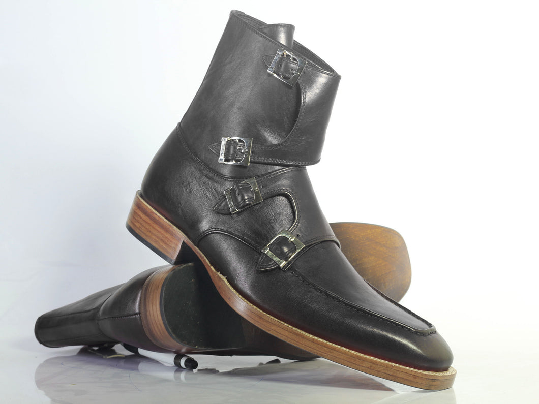 Bespoke Black Leather High Ankle Monk Strap Boots - leathersguru