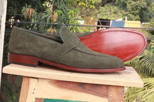 Handmade Green Suede Loafers Shoe - leathersguru
