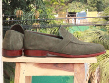 Load image into Gallery viewer, Handmade Green Suede Loafers Shoe - leathersguru