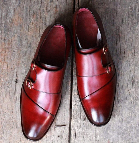 Men's Burgundy Leather Monk Shoe - leathersguru