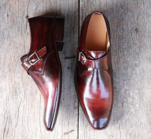 Men's Two Tone Brown Monk Leather Shoes - leathersguru