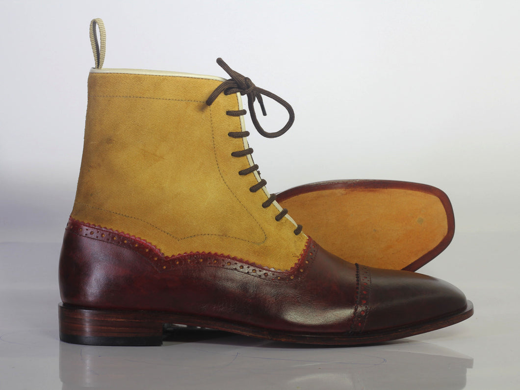 Bespoke Yellow & Burgundy Leather Ankle Cap Toe Lace Up Boot - leathersguru