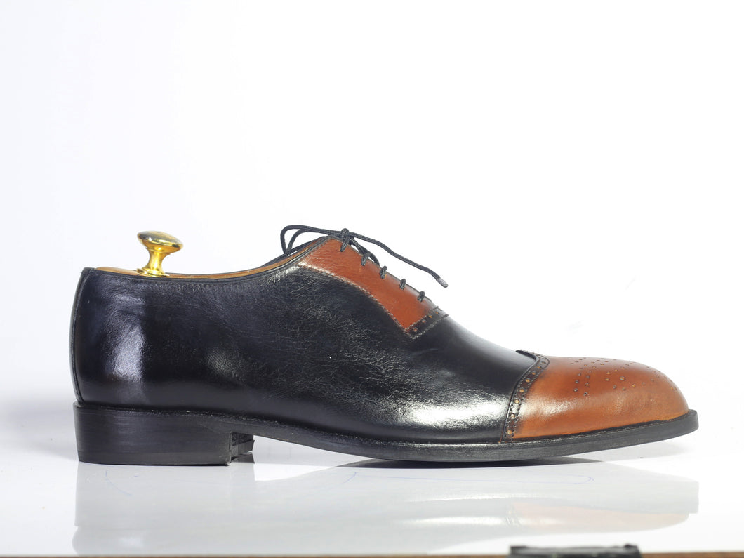 Bespoke Brown Black Leather Wing Tip Lace up Shoes - leathersguru