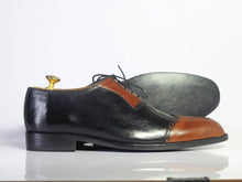 Load image into Gallery viewer, Bespoke Brown Black Leather Wing Tip Lace up Shoes - leathersguru