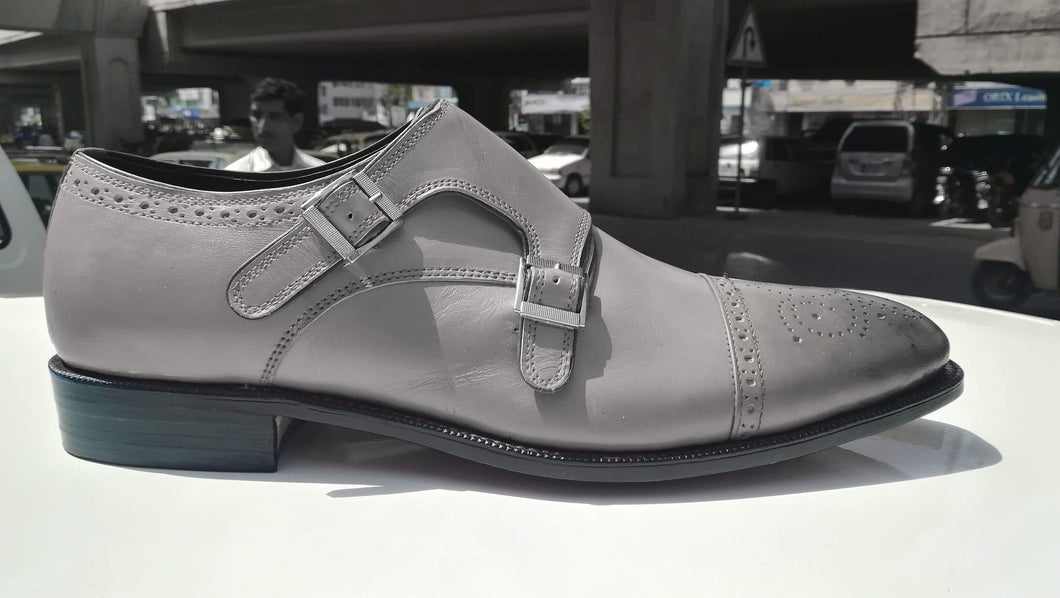 Handmade Gray Monk Strap Leather Shoe - leathersguru