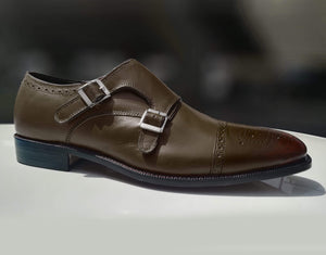 Handmade Brown Monk Strap Leather Shoe - leathersguru
