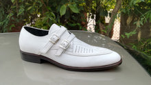 Load image into Gallery viewer, Bespoke White Leather Monk Strap Shoe for Men's - leathersguru