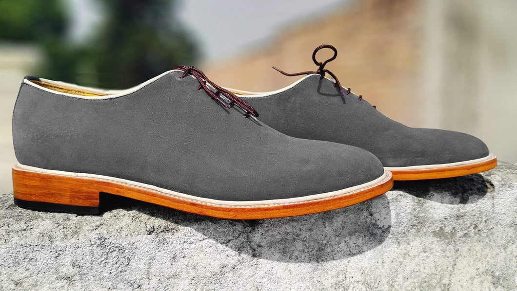 Handmade Men's Suede Gray Derby Lace Up Shoes - leathersguru